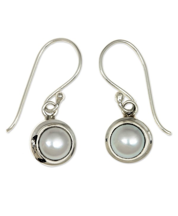 NOVICA Cultured Freshwater Pearl and Sterling Silver Bridal Dangle Earrings- 'Full Moon' - CO11G3W3AN9