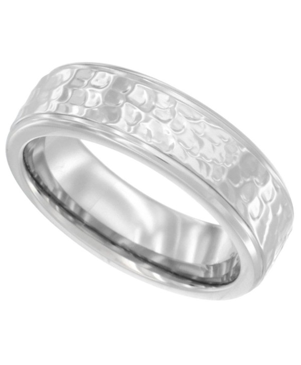 Surgical Stainless Steel 6mm Ladies Hammered Wedding Band Ring Bullnose Edge Comfort fit- sizes 5 - 9 - CB11H5O65TV