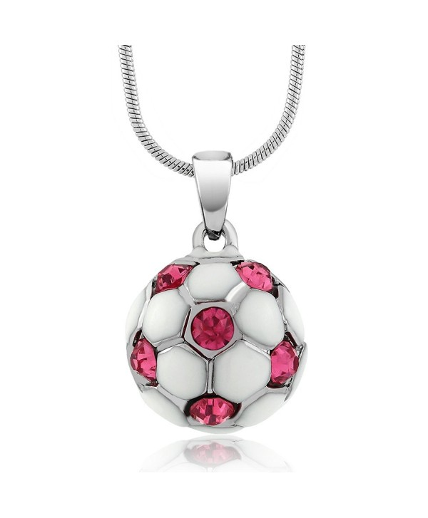 "Stunning White Soccer Ball with Pink Crystals Pendant and 16"" Snake Chain - CB11CXBTYRL"