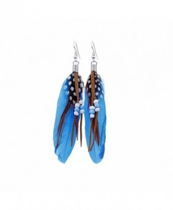 Becoler Bead Tassel Feather Earrings Fashion Tassel Dangle Earrings Jewelry - Blue - CX186ZR6L02