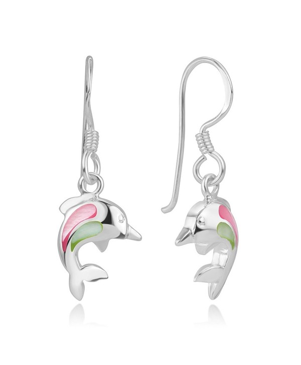 925 Sterling Silver Pink Green Mother of Pearl Dolphin Porpose Fish Dangle Hook Earrings 1.14 inches - CG12LPM875X