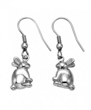 Stainless Steel Bunny Rabbit Wire Earrings - C811GGZTCXB