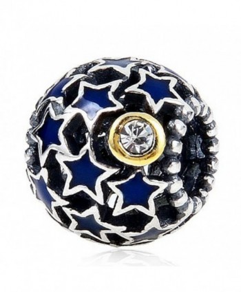 Starry Night Charm 100% 925 Sterling Silver Openwork Charms Blue Stars Bead for European Bracelet - CA12NZRARU3