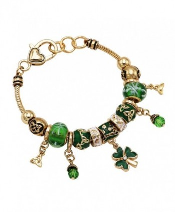 Rosemarie Collections Women's St Patrick's Day Beaded Charm Bracelet Leprechaun Hat Irish Shamrock - Gold Tone - C7189TZNN57