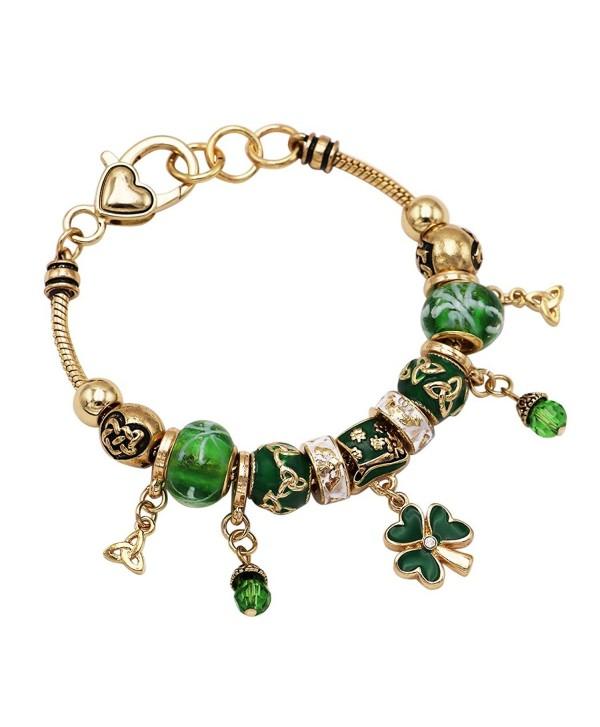 Rosemarie Collections Women's St Patrick's Day Beaded Charm Bracelet Leprechaun Hat Irish Shamrock - Gold Tone - C7189TZNN57