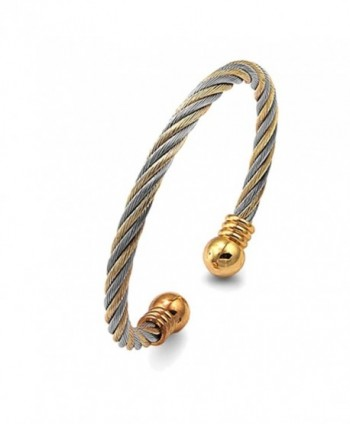 5MM Stainless Surgical Steel Twist Cable Magnet Bangle Cuff Bracelet - C111KDDXIHD