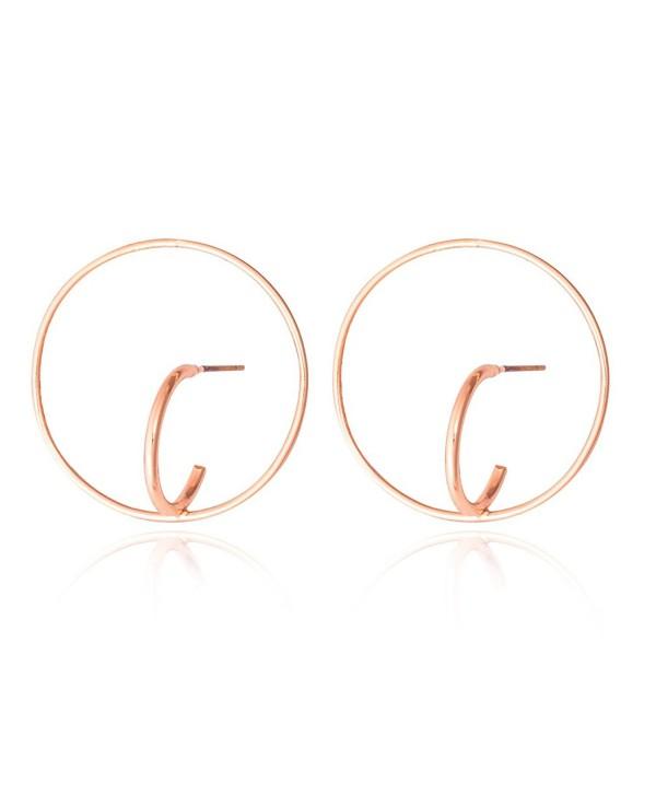 Jane Stone Fashion Italian Solid Geometric?Figure Gold Copper Hoop Stud Earrings for Women - rose gold - C112MY31M50