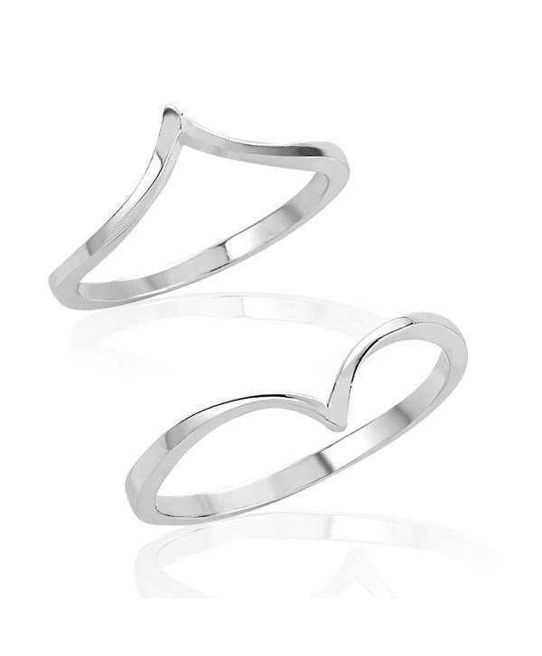 925 Sterling Silver Pointed Above Knuckle Midi & Thumb Ring Set of Two (2)- Sizes 5- 8 or 4- 7 - CW12JOAJB0R