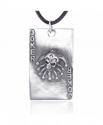 Dan's Jewelers Joker Skull Playing Card Pendant Necklace- Fine Pewter Jewelry - CG112CI6EEV