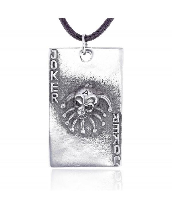 Dan's Jewelers Joker Skull Playing Card Pendant Necklace- Fine Pewter Jewelry - CG112CI6EEV
