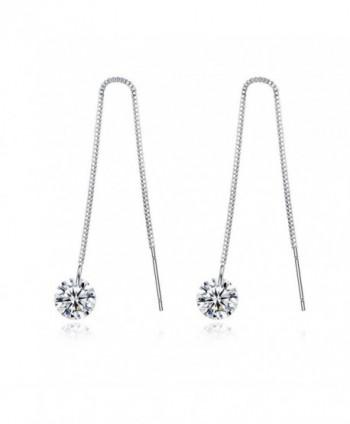 Spiritlele Elegant Threader Dangling Earrings - silver - C3184ZGZ5RO