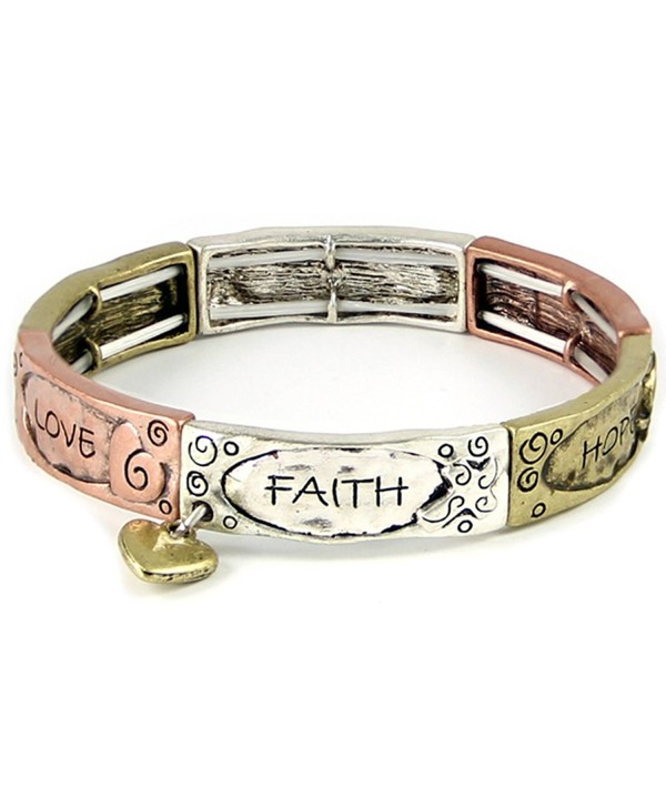 4031410 Faith Hope Love Tri Tone Stretch Bracelet Heart Charm 1 Corinthians Scripture - CF11IAMJHX7