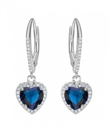 EleQueen Sterling Zirconia Leverback Earrings - Sterling Silver Sapphire Color - CU12I2VGG3Z