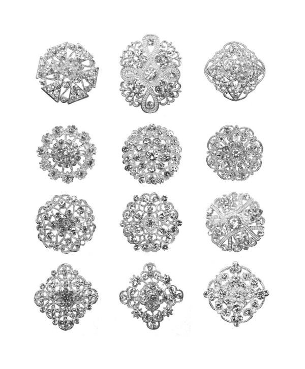 L'vow Silver Plated Flower Crystals Brooches Floriated Brooch Collar Pin Bouquet Decor - CX125AI06NX