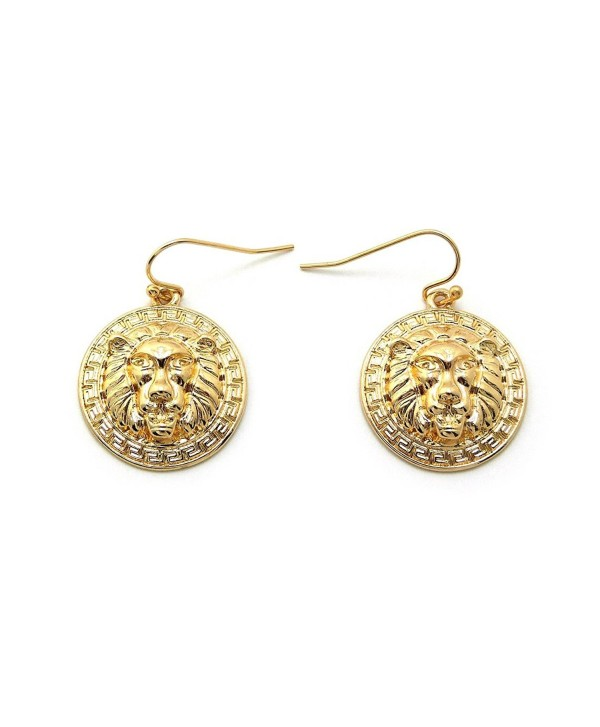 Celebrity Style Lion Head Charm Hook Earrings - Gold-Tone - CX11DGM84RH