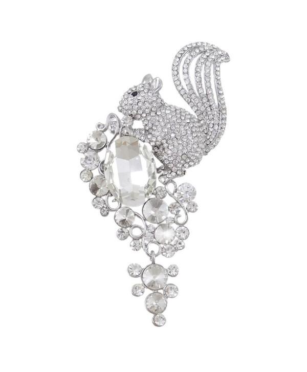 EVER FAITH Rhinestone Crystal 4.5 Inch Lovely Little Squirrel Flower Brooch Clear - Silver-Tone - C111K4KOR8T