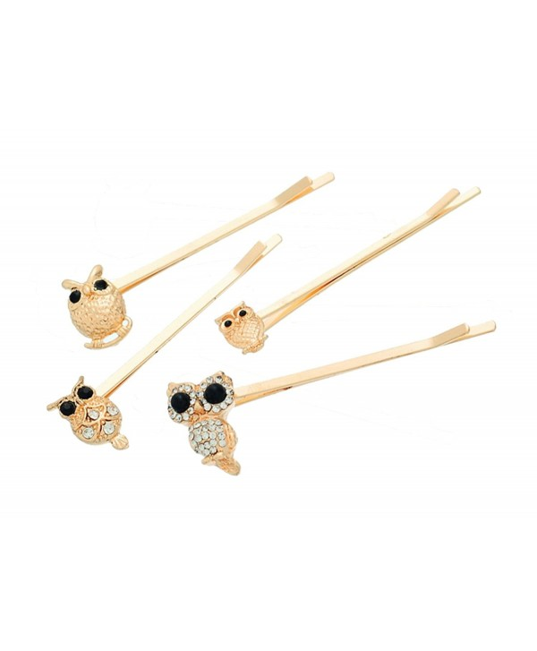 Souarts Gold Color Owl Shape Hair Pins with Rhinestone Pack of 4pcs - CY11W796SQJ