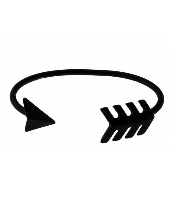 Shagwear Women's Retro Fashion Arrow Cuff Matte Color Metal Bracelet - Black - C711IQABF3D