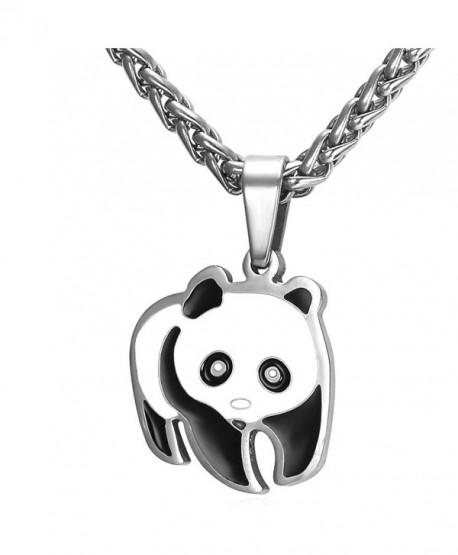 Panda Bear Pendant Necklace in Black Gift Box - CC12JE0EUDB