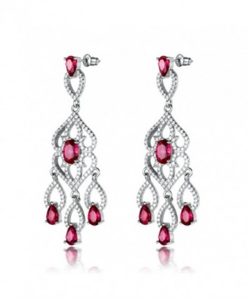 GULICX Silver Tone Teardrop Cubic Zirconia Flawless Rose Zircon Color Long Chandelier Dangle Earrings - CP12NYEPTWY