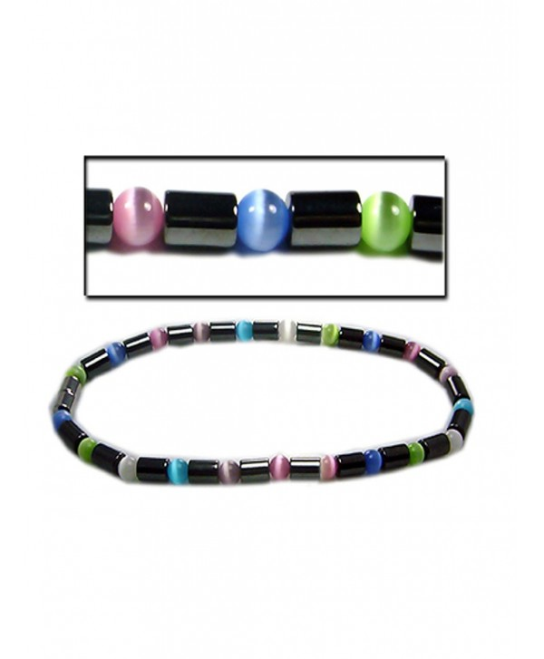 "Accents Kingdom Women's Magnetic Hematite Cat Eye Bead Bracelet - ""Multi-Color Anklet 10"""""" - CX113G952EX"