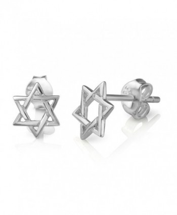 925 Sterling Silver Tiny Small Open Hexagram Geometric Star Symbol Unisex Post Stud Earrings 8 mm - C712O7ACTOS