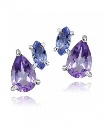 Sterling Silver 1.65ct Amethyst and Tanzanite Two Stone Friendship Stud Earrings - CG12INST8EB