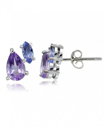 Sterling Amethyst Tanzanite Friendship Earrings