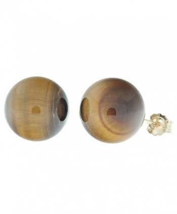 Trustmark 14K Yellow Gold 10mm Natural Brown Tigers Eye Ball Stud Post Earrings - CA118ZIEUYX