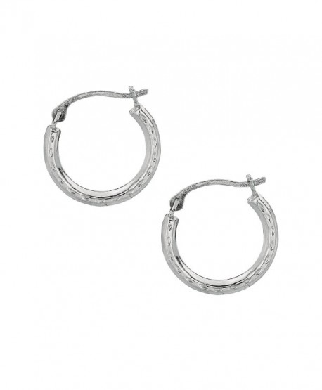 10K Gold Shiny Diamond-cut Small Round Hoop Earrings (Yellow or White) - CU110MN52XR