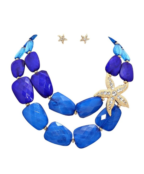 "Rosemarie Collections Women's Ombre Polished Resin Necklace Earrings Set ""Starfish"" - Blue - CA12NZ0LU3M"