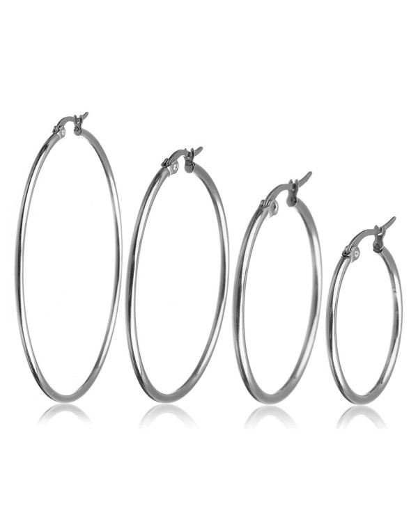 Ckysee Jewelry 4 Pairs Stainless Steel Hoop Earrings Set for Women 25-55mm - CQ1869C7GM0