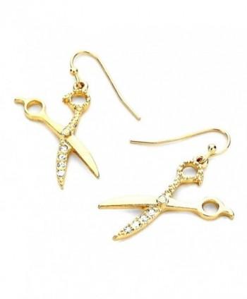 Golden Bejeweled Scissor Drop Earrings - C811NRHYCYF