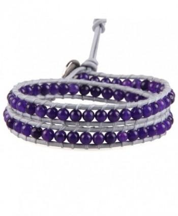 KELITCH Agate Round Beads on Gray Leather 2 Wrap Bracelet Handmade New Summer Bangles - C312B546PL9