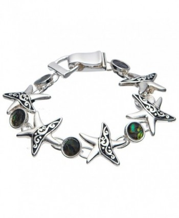 Starfish & Green Brown Abalone Shell Tennis Bracelet - C11880MWND4