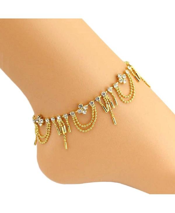 SusenstoneWomen Diamond Anklet Bracelet Barefoot Sandal Beach Foot Jewelry - C5125X1DJUZ