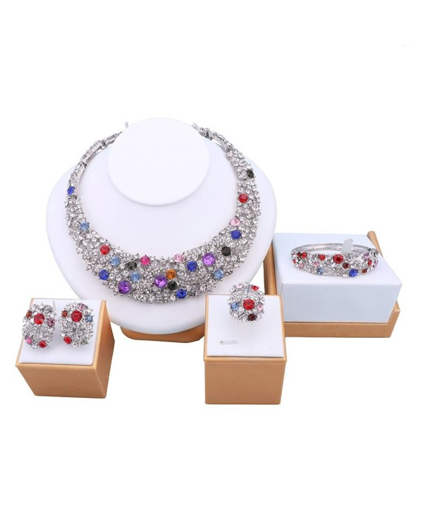 OUHE Jewelry Sets For Women Silver/gold Plated Africa Beads Costume Show Wedding - ouhe11 - C41822MMKNK