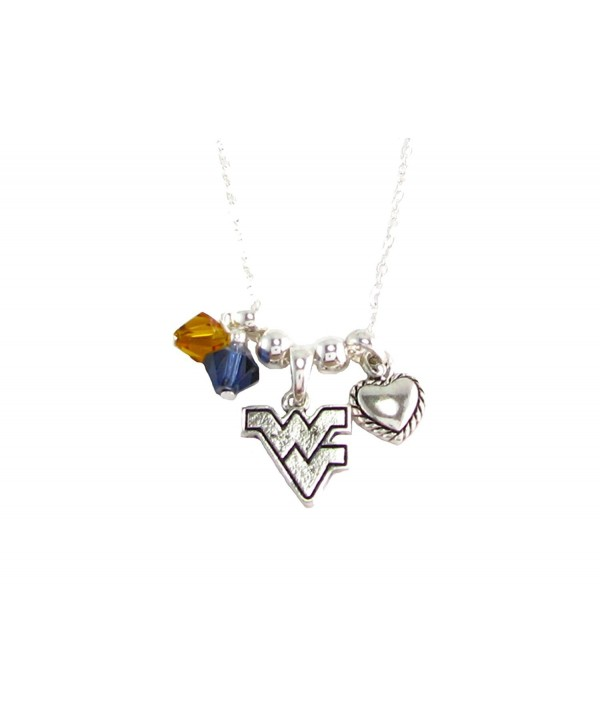 West Virginia Mountaineers Navy Blue Austrian Crystal Silver Chain Necklace WVU - CF11R22WZ3V