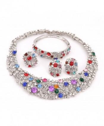 OUHE18K Crystal Necklace Earrings Bracelet