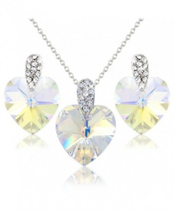White Hearts Crystals Necklace and Earring Set with White Swarovski Element Crystals - Gift Present for Her - CY118Y6M4ZN