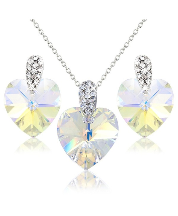 White Hearts Crystals Necklace And Earring Set With Swarovski Element Gift Present For Her Cy118y6m4zn