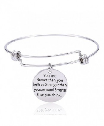 You're Braver Stronger Smarter Charm Inspirational Bracelet Expandable Bangle Inspirational Gift for Women Men - CJ12O6GZMFT