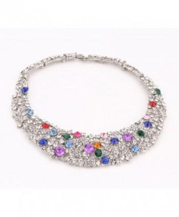OUHE18K Crystal Necklace Earrings Bracelet in Women's Jewelry Sets