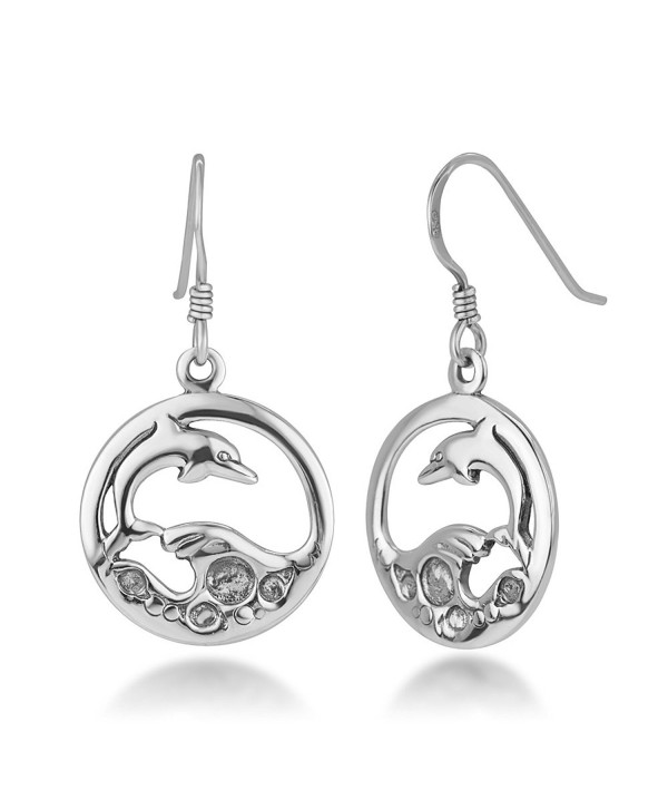 "925 Sterling Silver Open Jumping Dolphin Playing Sea Waves Round Dangle Hook Earrings 1.25"" - CU12LPM7R7R"