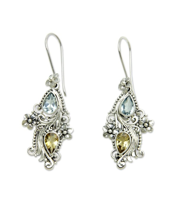 NOVICA Multi-Gem Blue Topaz .925 Sterling Silver Dangle Earrings 'Plumeria Dew' - C312E2XEYRH