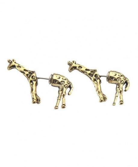 Front & Back Earring Animals (Gold Giraffe) Made With Zinc Alloy by JOE COOL - CS11VA63W5J