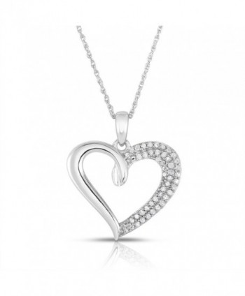 Something For Me 1/4 Carat Weight - Genuine Diamond Heart Pendant in Sterling Silver - CB12MZ9BTJW