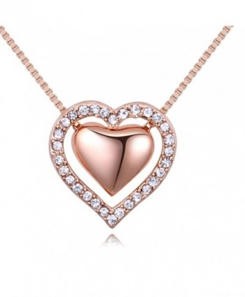 Double Love Heart Pendant Necklace Made with Austrian Crystals Jewelry Gifts - Rose-Gold-Tone Double Heart 3 - CD180ENOUW5