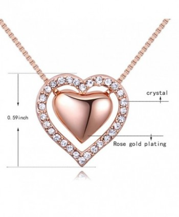 Pendant Necklace Austrian Crystals Rose Gold Tone in Women's Pendants