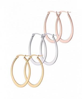 Stainless Steel Hoop Teardrop Earrings 3 Pair Set with Stainlees Post Backings- 35mm By Regetta Jewelry - C312JQSE8JR